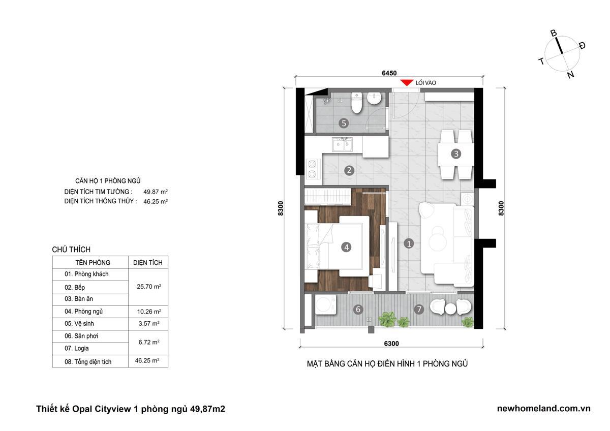 Thiết kế căn hộ Opal City View 1 phòng ngủ 49m2