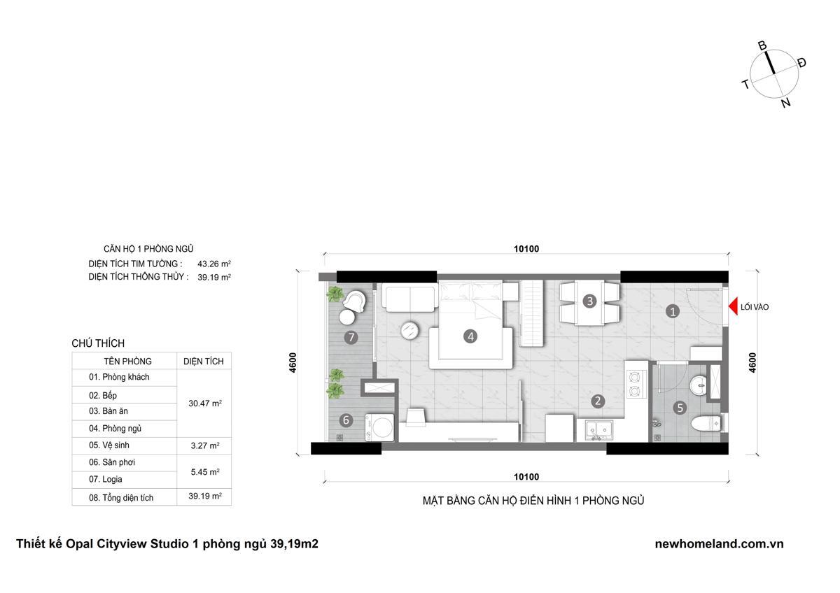 Thiết kế căn hộ Opal City View 1 phòng ngủ 39m2