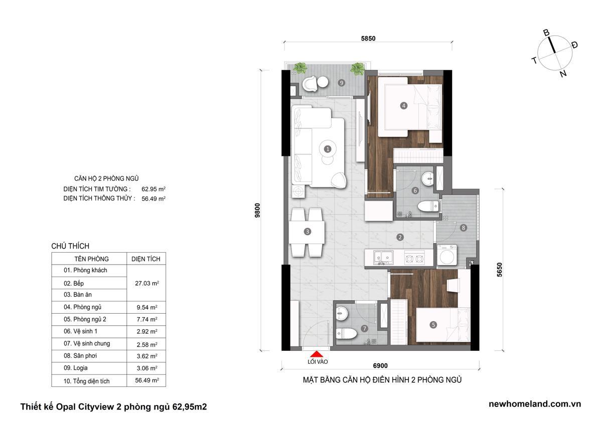 Thiết kế căn hộ Opal City View 2 phòng ngủ 62m2