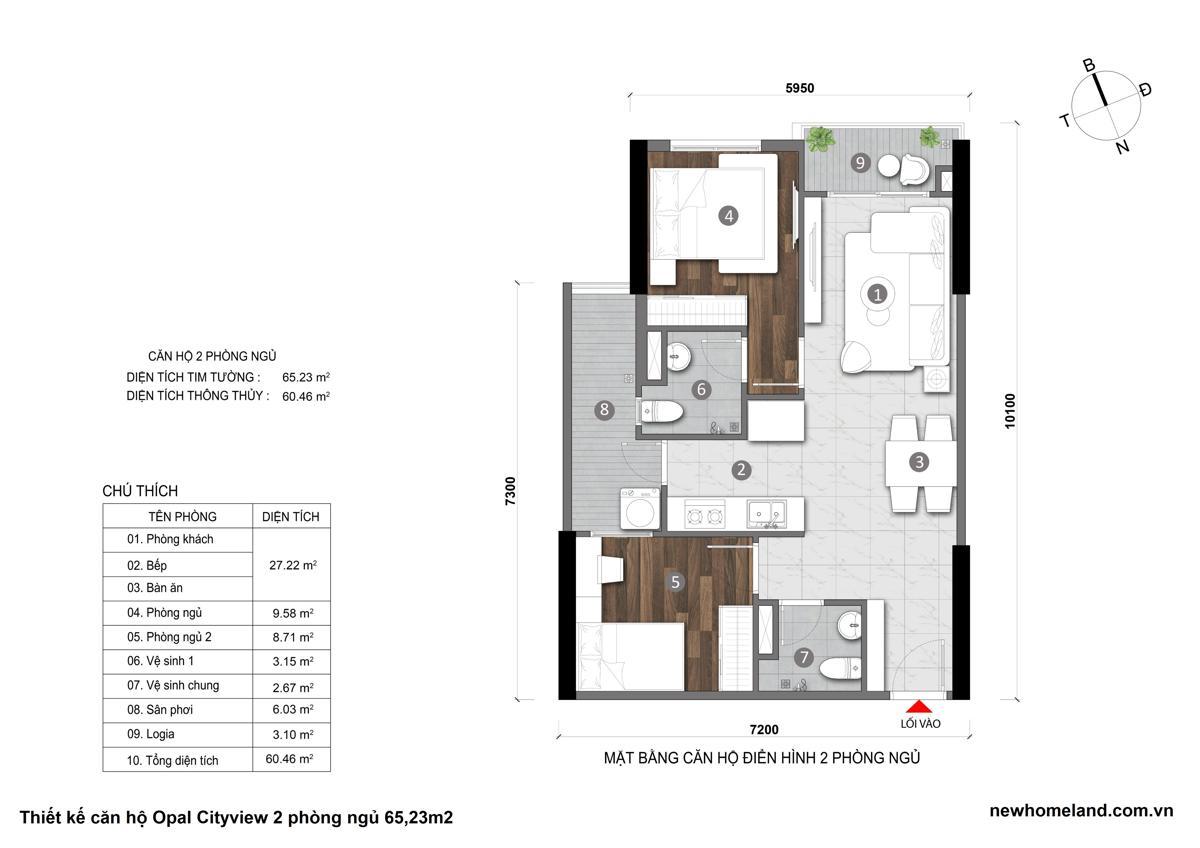 Thiết kế căn hộ Opal City View 2 phòng ngủ 65m2