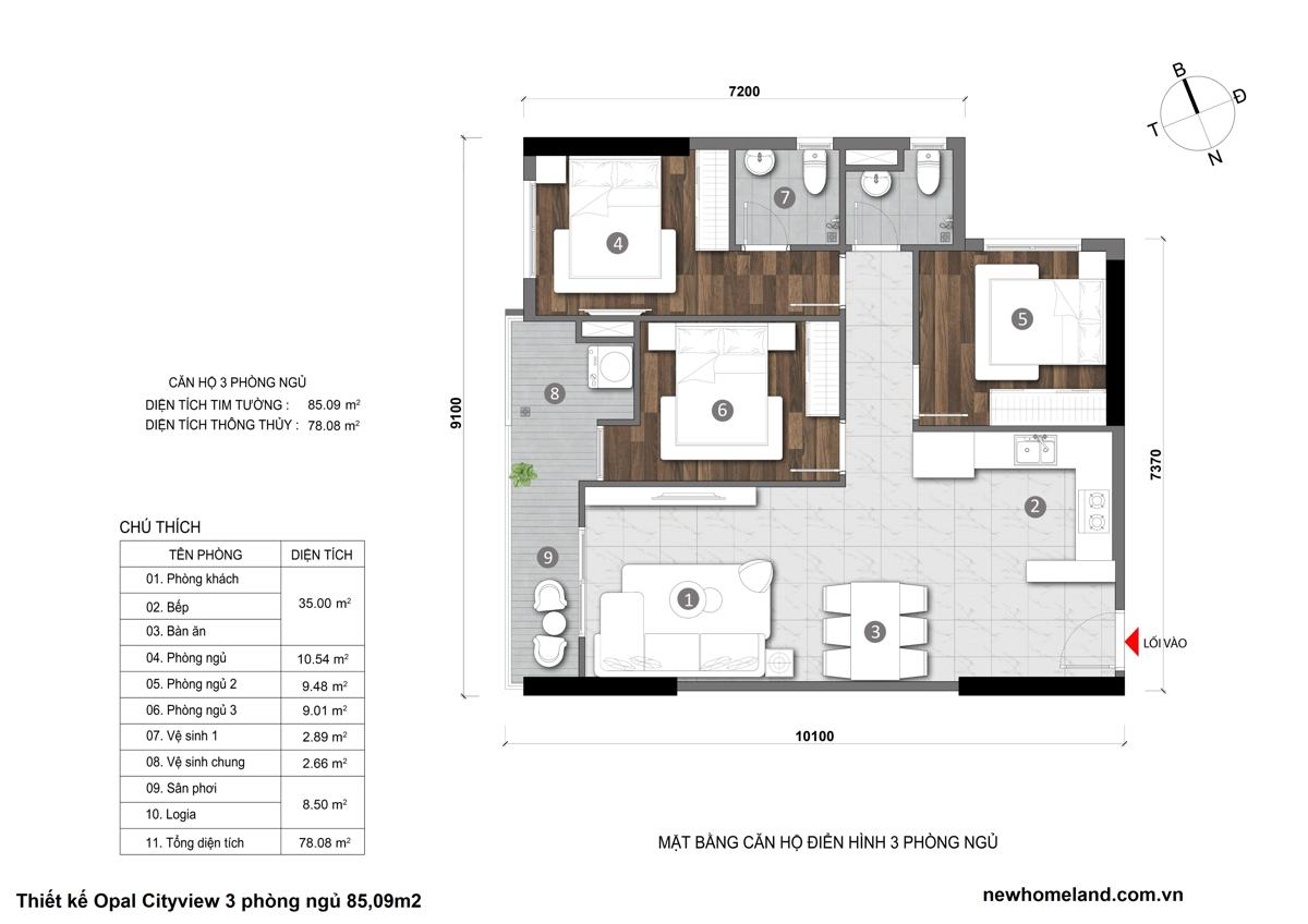 Thiết kế căn hộ Opal City View 3 phòng ngủ 85.09m2