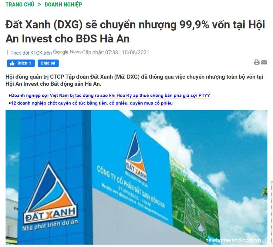 Đất Xanh chuyển nhượng công ty Hà An