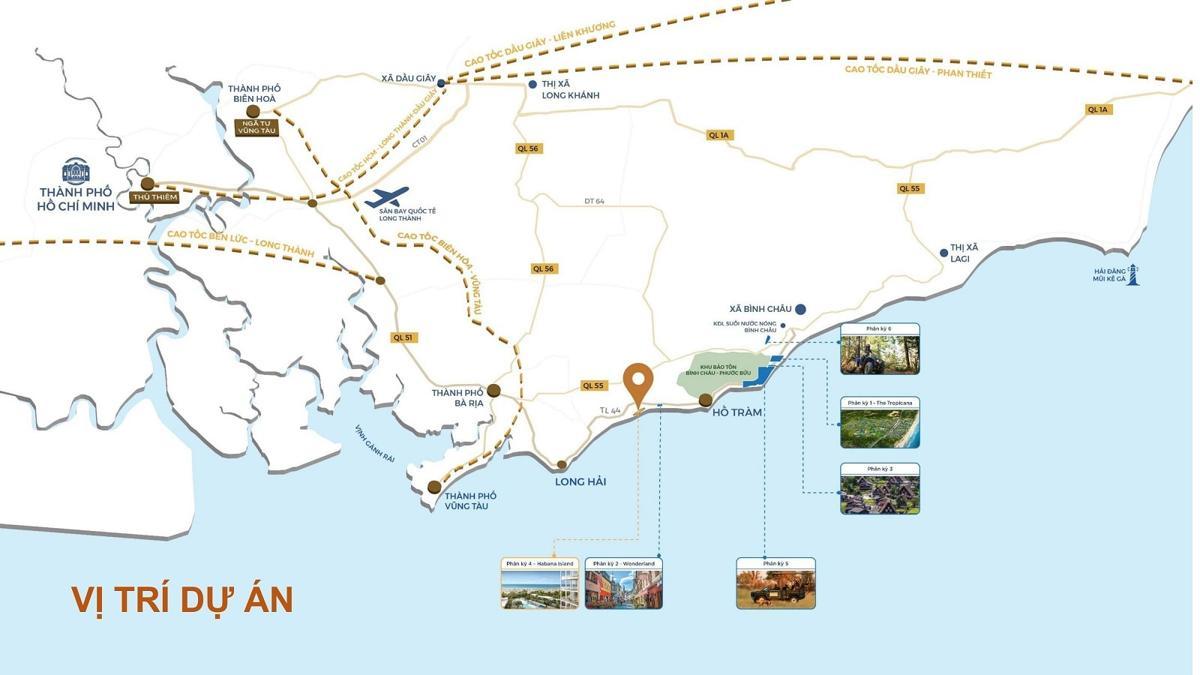 Vị trí Bình Châu Onsen Novaworld Hồ Tràm Vũng Tàu